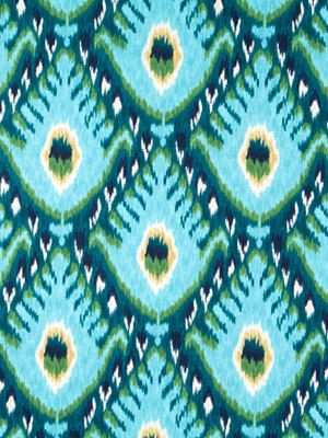 A traditional ikat design of aqua blue, turquoise, sea green, white and navy blue. This fabric is suitable for all furniture upholstery including