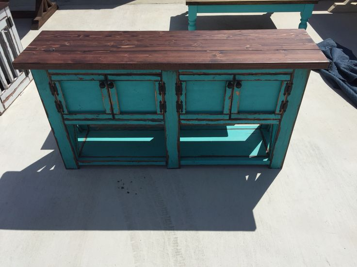 Custom Made Sofa Table With Doors By Ross Rustic Tables. Www.rosstables.com