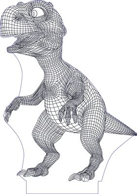 3D illusion dino premium vector drawing