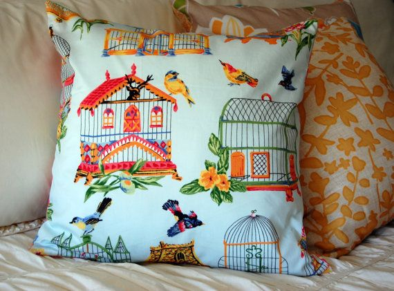 Birdhouse Garden Pillow... gorgeous for the bird lover in chic Asian-inspired style
