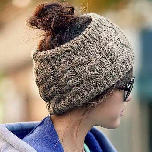 Brown wool headband.