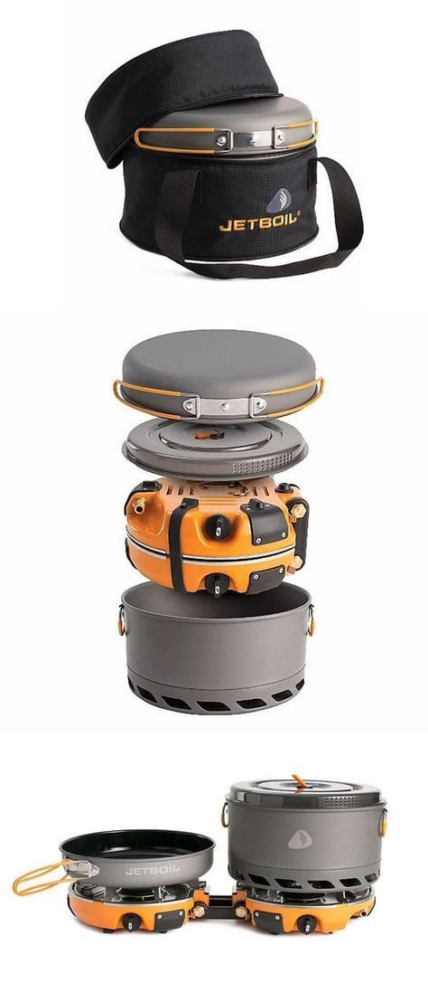 """The Jetboil Genesis Base Camp 2 Burner System is a group cook stove for meal time at base camp. Included with the dual burners is a 10"""" fry pan, a 5L FluxPot with lid, and a carrying case to keep them all together while traveling. This can quickly get 1 l"""