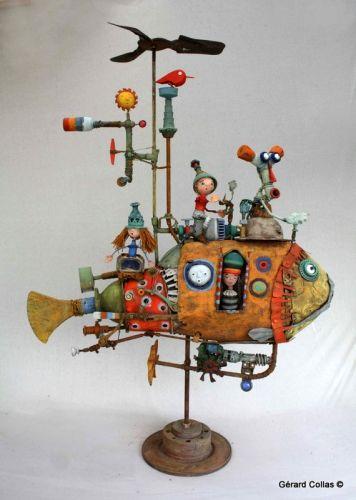 gérard collas, sculpture, poisson assemblag