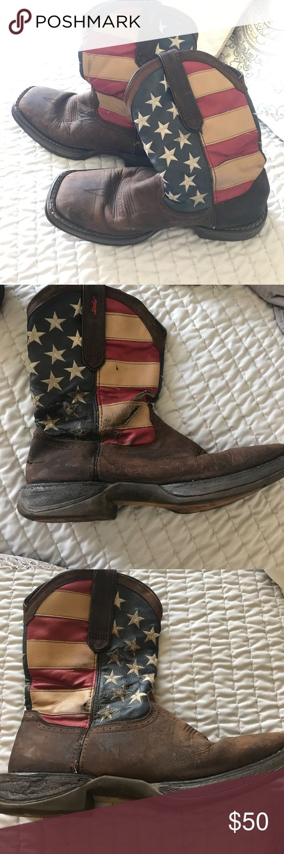 Durango rebel men's cowboy boots American flag men's cowboy boots. Slightly worn, ripped on the outside of the right boot (shown in picture 2) Great long lasting brand with wear still left in them. Make an offer(: durango rebel Shoes Boots