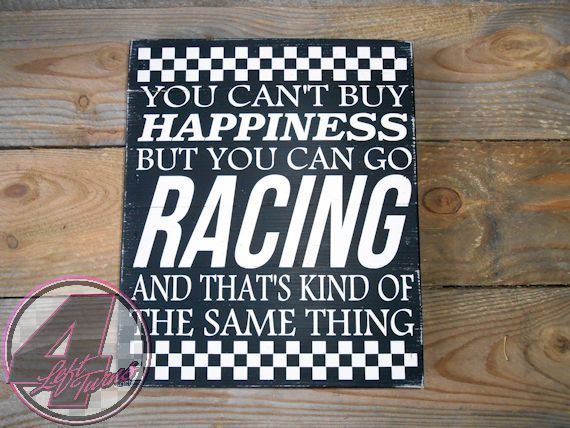 The newest race-related pallet wood sign created by 4 Left Turns for Poverty Barn. $23 plus shipping. Now available in our Etsy shop!