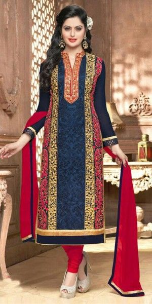 Vibrant Blue Georgette Straight Suit With Dupatta.