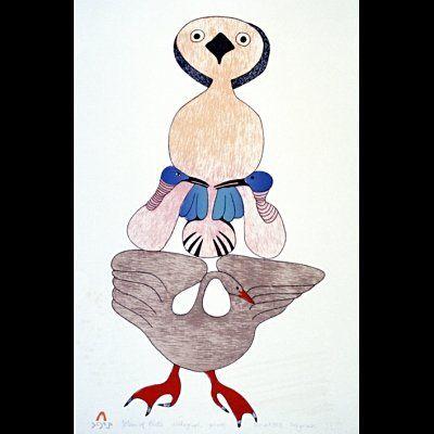 "Mayureak Ashoona  ""Totem of Birds"""