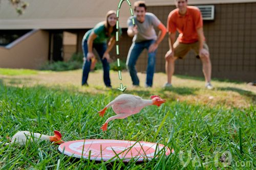 The object of the Flickin' Chicken Game is to toss rubber chickens onto a small target disc. My family has so much fun with this!