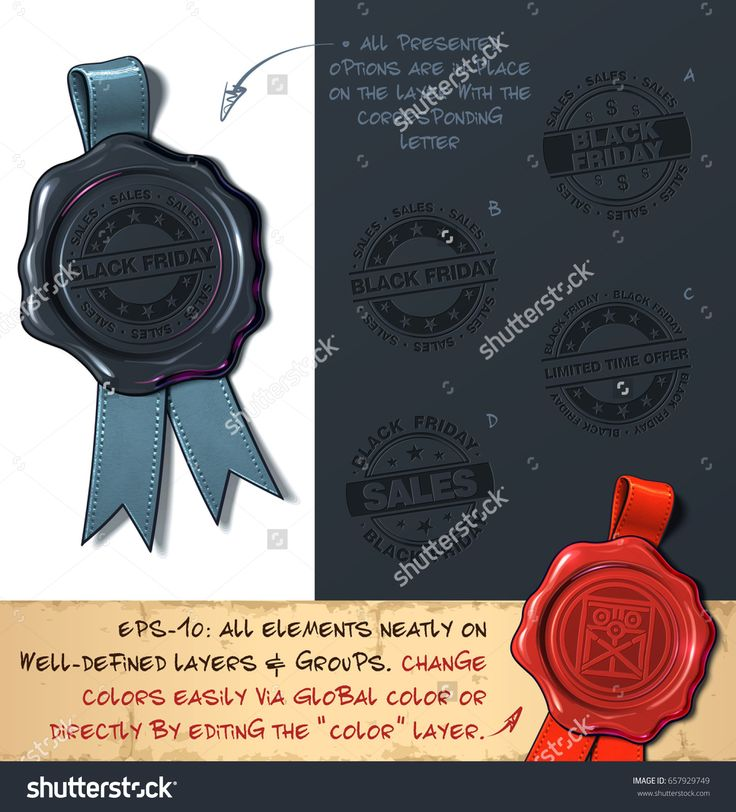 Vector Illustration of a wax seal with a set of stamps regarding Black Friday Sales subjects. All design elements neatly on well-defined layers and groups
