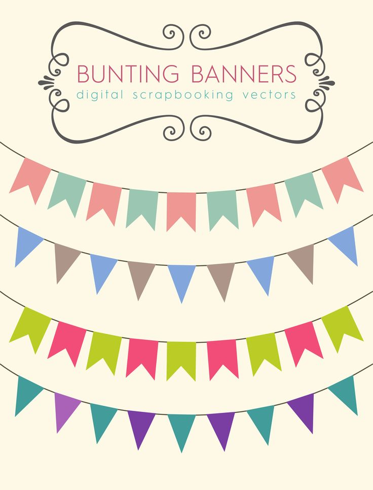 Download these bunting banners to use for your party printables, blog banners or scrapbooking designs. I've made a free stock vector file as well, so you can edit the colors of the clip art yoursel...