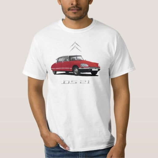 Red Citroën DS 21, white top - metallic badges DIY  #citroends #citroen #automobile #classic #car #tshirt #red