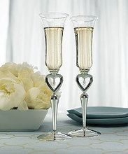Silver Plated Open Heart & Jewel Drop Stem Champagne Flutes - Set Of 2
