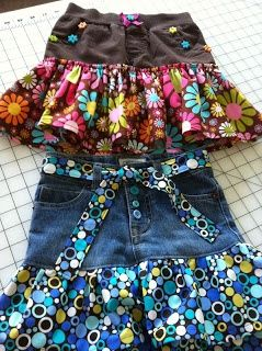 Buttons, Bows & Bling: Blue Jean Shorts to Skirt Part - 2 ^