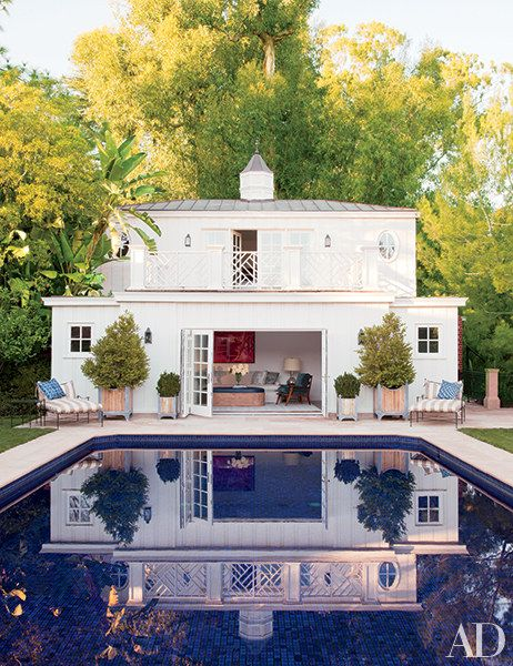 A neo-Regency Beverly Hills poolhouse, which also functions as guest quarters, was designed by Appleton & Assoc.