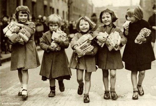 Little girls on their way back from the library
