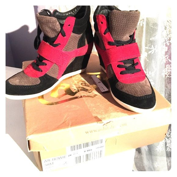 Ash Bowie Lace Up High Top Wedge Sneakers Worn only once! Edgy and feminine, these sneakers conceal a hidden wedge heel. Very comfortable! Rare color, currently discontinued by Ash! Get it while you can! Ash Shoes Sneakers