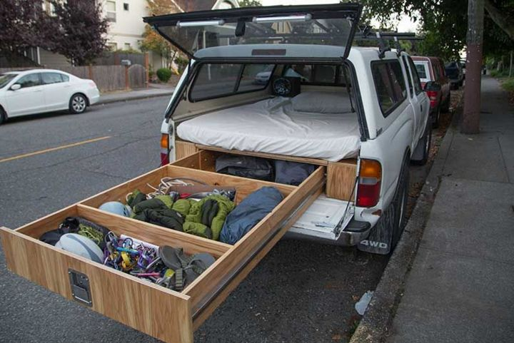 "Add A Full Bed & Storage System To The Back Of Your Truck. Who needs an expensive camper shell when you can easily make this awesome Adventure Truck with a few pieces of wood, some bolts and a mattress? If you are on the road a lot, like to occasionally travel or if you own<a href=""http://www.diybullseye.com/you-are-never-going-to-believe-what-this-truck-is-capable-of-doing/"" title=""Read more"" >...</a>"