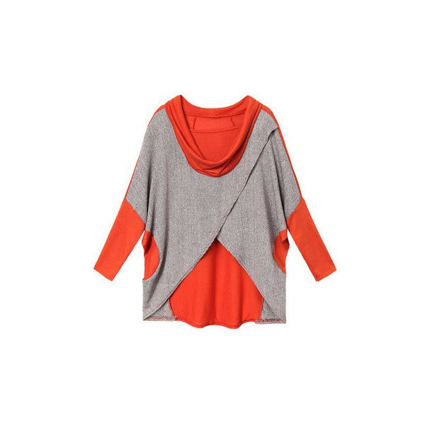 Casual Contrast Irregular Batwing Loose Patchwork Cotton Women T-shirt ($10) ❤ liked on Polyvore featuring tops, t-shirts, newchic, red, women tops t-shirts, red t shirt, print t shirts, loose tee, cotton tees and white top