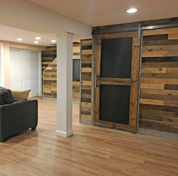 Chalkboard Custom Sliding Barn Door With Images Barn Door Finishing Basement Basement Renovations