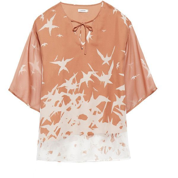 J.Lindeberg Ilina Nude Bird Print Shirt ($85) ❤ liked on Polyvore featuring tops, neutrals, red shirt, batwing sleeve shirt, batwing sleeve tops, relaxed fit tops and keyhole top