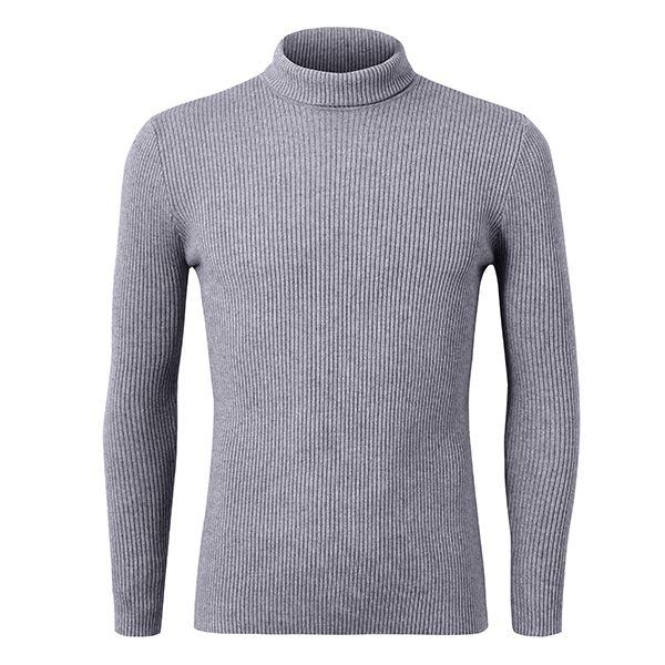 Sale 24% (27.86$) - Mens Roll Neck Knitwear Cashmere Blend Turtleneck Slim Fit Knitted Sweater