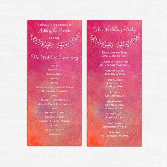 templates for wedding programs