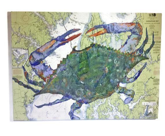 Chesapeake Bay Blue Crab Art Nautical Chart Style 24 X Etsy In 2021 Blue Crabs Art Crab Art Colorful Flower Art