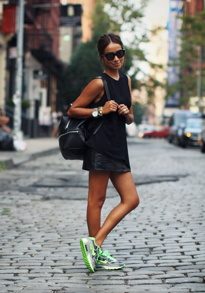 Love how blogger Sincerely Jules wears her primary new york leather square skirt, with neon kicks | PRIMARYNY.COM