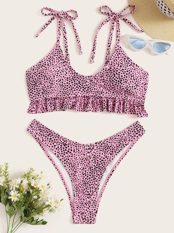 1646e2071f Dot Print Ruffle Top With High Cut Bikini Set | SHEIN | II TRENDY ON ...