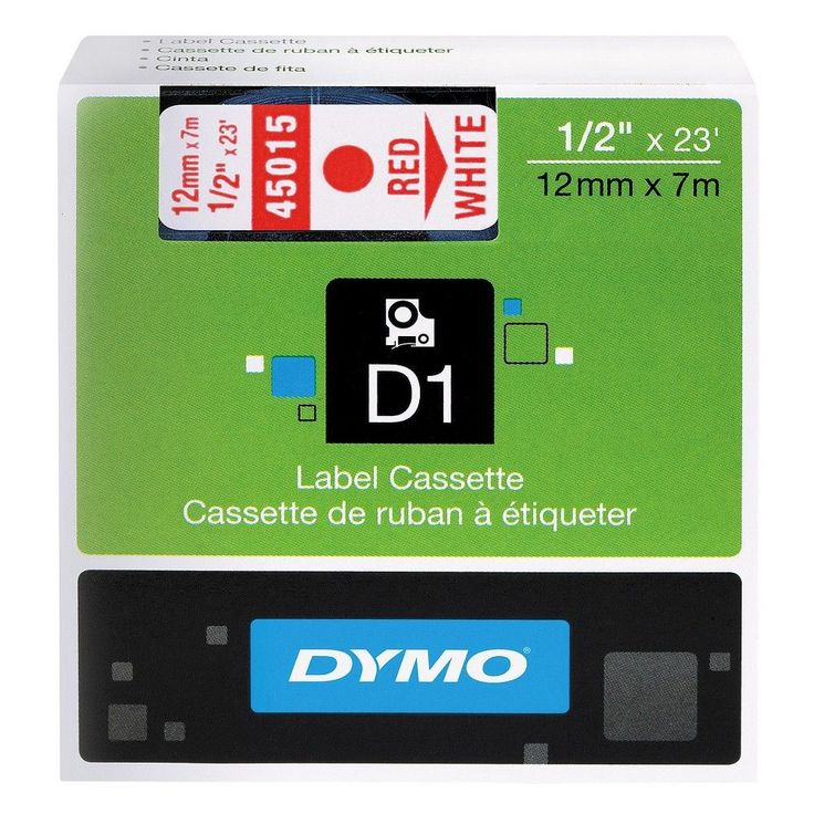 Dymo D1 Standard Tape Cartridge for Dymo Label Makers, 1/2in x 23ft, Red on White