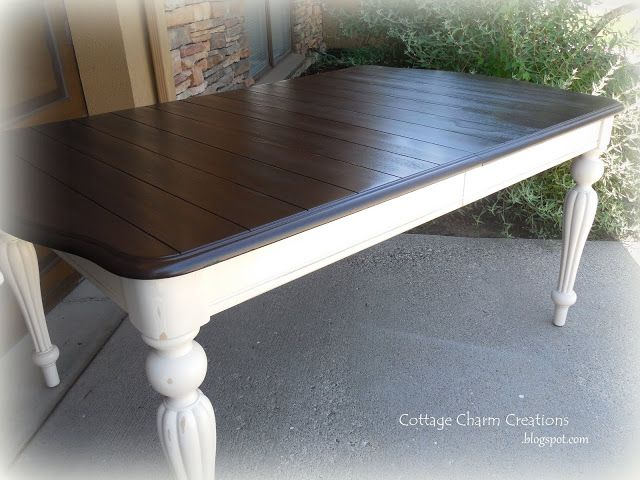 Change the table in the Art Room to this... Cottage Charm Creations: Painting a two-tone table