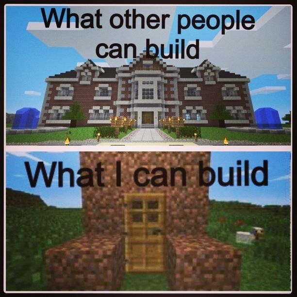 Well I Can Build That Nice Dirt S Or I Could Live In Minecraft Feelsfunny