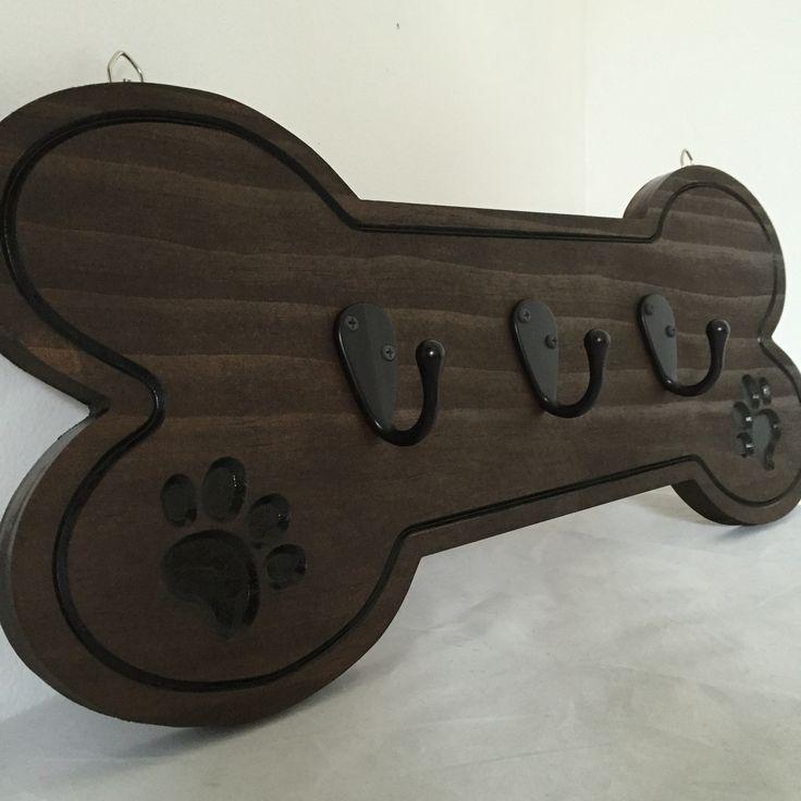 Wooden carved dog bone shaped pet leash holder