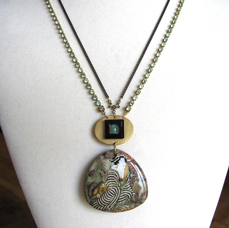 Seated Woman on Jasper Pendant Necklace