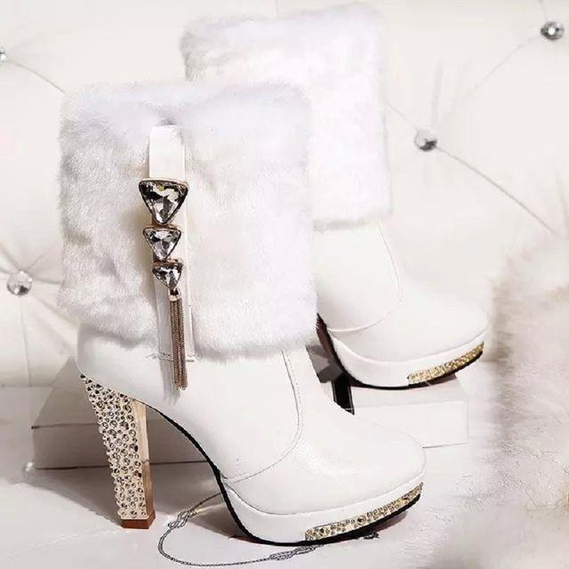 Botas de tobillo de mujer zapatos blancos 2016 mujeres de invierno zapatos de novia zapatos de plataforma botines de tacón grueso para las mujeres zapatos de boda rhinestone