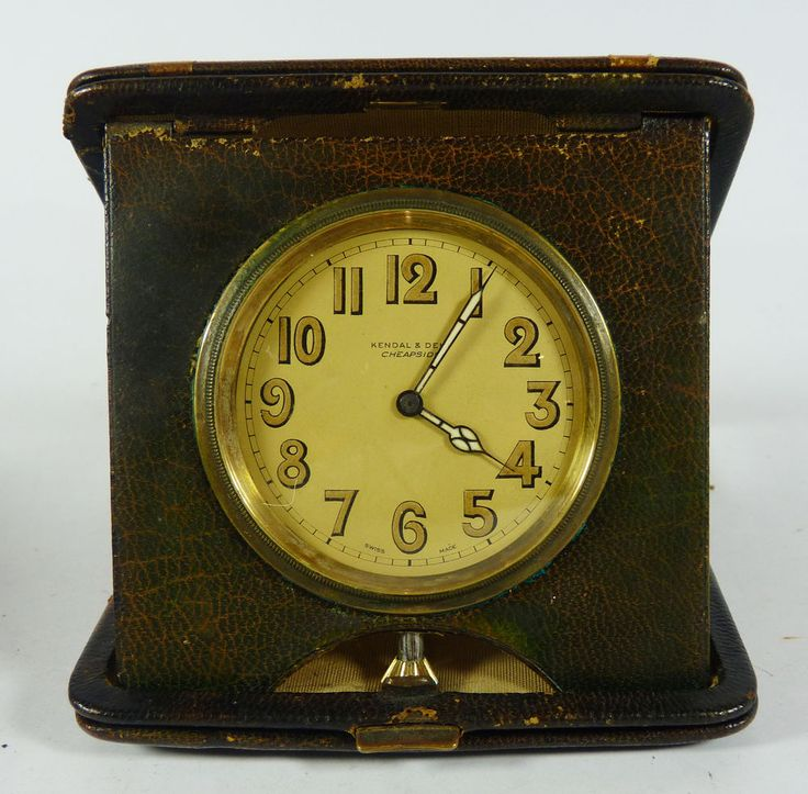Antique Kendal Amp Dent Folding Travel Clock In Leather Case
