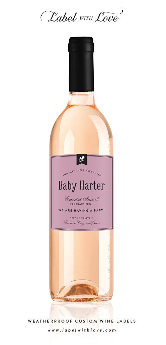 Pregnancy Announcement Custom Wine Labels - Birth Announcement Wine Label - Pregnancy Reveal - Perfect idea for letting your loved one's know you have a baby on the way. Pregnancy Reveal Ideas. Birth Announcement