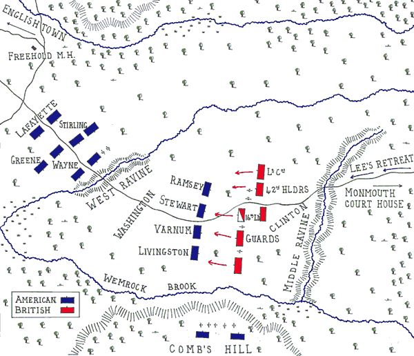 Clinton suspected that Washington would attack him in strength and ordered Knyphausen to begin his march up the Middletown road to the North at 4am on 28th June 1778. Warned by Dickinson and his New Jersey militia that the British army was on the move, Washington ordered Lee to attack and bring the British withdrawal to a halt until he could bring up the main strength of the American army along the Monmouth Road.