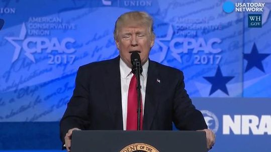 """President Trump made a triumphant return to the annual Conservative Political Action Conference, the place where Trump says he gave his first major political speech and concluded, """"I think I like this business."""""""