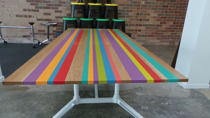 Striped Solid Oak Table with custom colours computer matched. e: info@aprjoinery.com.au w:aprjoinery.com.au