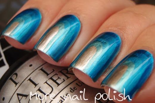 More Nail Polish: OPI Push and Shove Chrome Step up mani