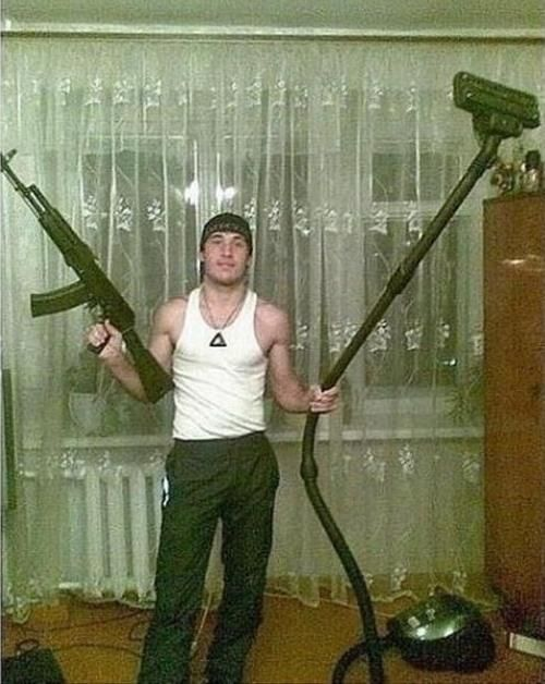 Guns And Vacuum Cleaners. Weird Russian dating site photos