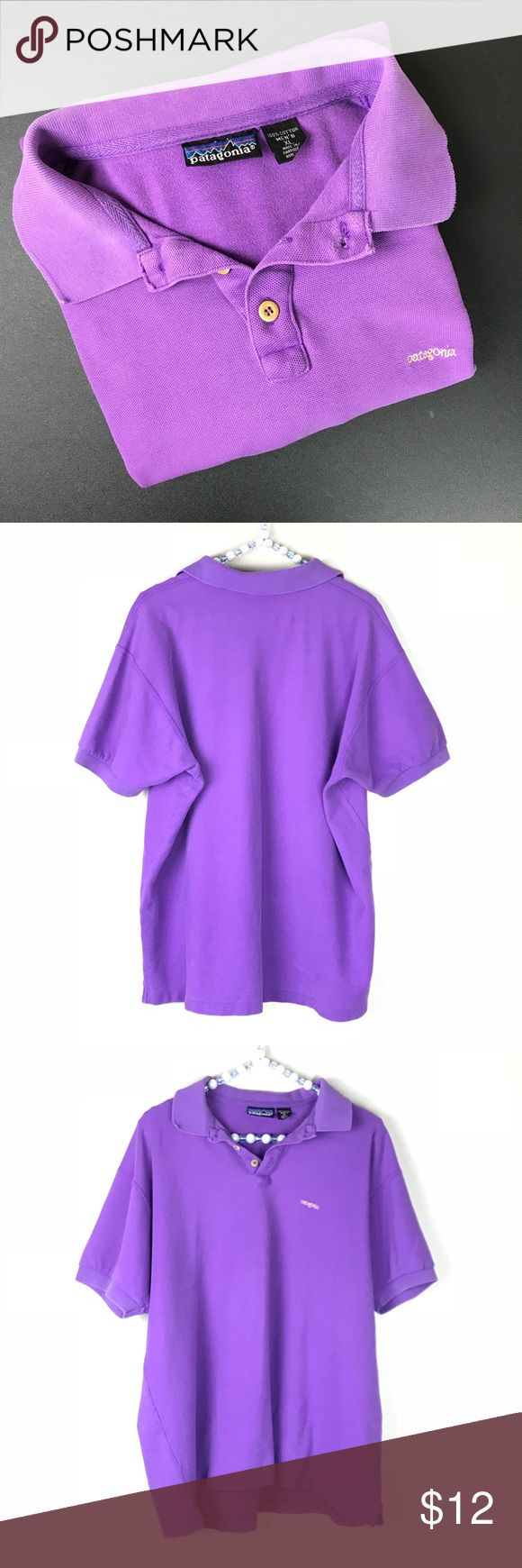 Patagonia Purple Polo Shirt Gently used Patagonia polo... color is faded and small stains shown in last picture. 100% cotton Patagonia Shirts Polos