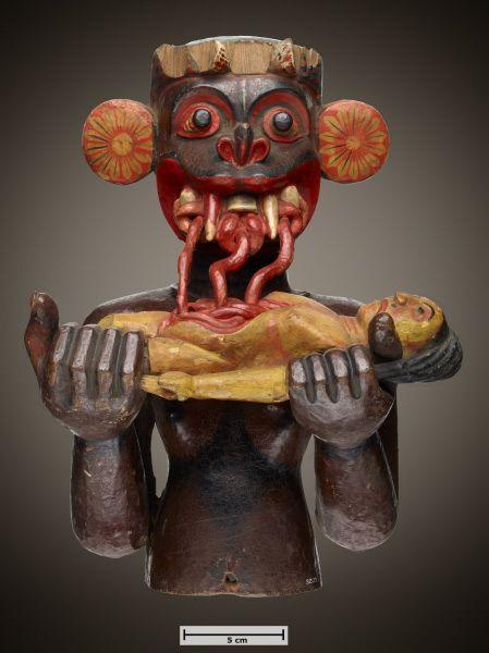 masque exorcisme-sri lanka Masque d'exorcisme pour protéger les femmes enceintes, XIXe siècle # Matériaux et techniques: Bois, peinture # Dimensions: 28,5 x 16,5 x 21,5 cm # Pays: SRI LANKA # Ethnie: Matara
