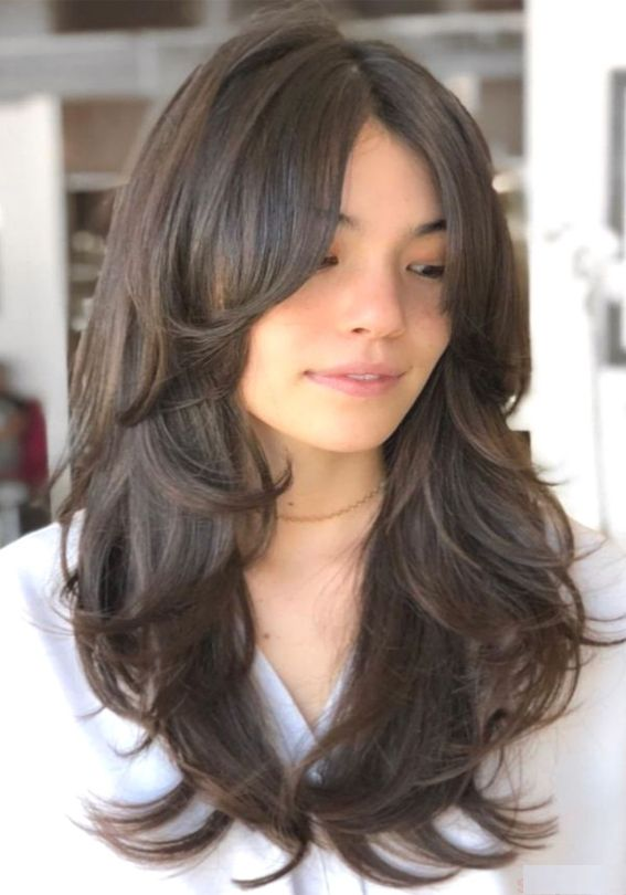 Fantastic Long Hairstyles And Haircuts With Bangs In 2020 Layered Haircuts With Bangs Long Layered Haircuts Layered Haircuts