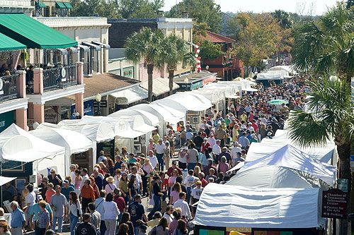 The annual Mount Dora Arts Festival is one of the largest art festivals in Florida held in the small, quaint town of Mount Dora, Florida in Lake County.