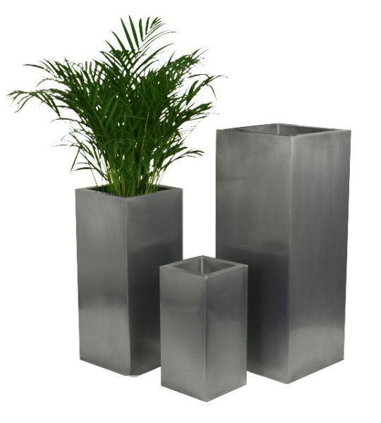 zinc silver steel metal tall cube planter garden indoor