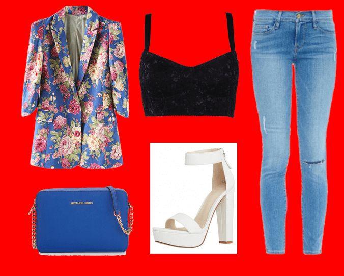 Пиджак с цветочным принтом, черный топ-бюстье, голубые джинсы, голубая сумка и белые босоножки