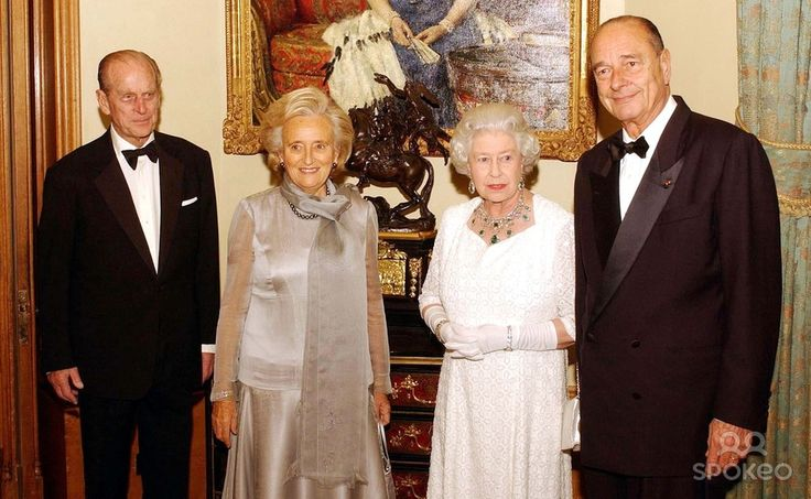 Queen Elizabeth Ii with the Duke of Edinburgh Stand with French President Jacques Chirac and Madame Chirac, Before attending a State Banquet at Windsor Castle. the Queen Hosted a State Banquet at the Castle For President