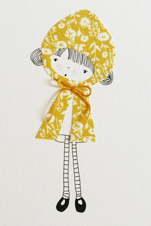 Little Yellow Girl by KirstyNeale l #drawing #mixedmedia